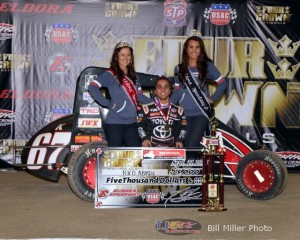 Rico Abreu in victory lane at Eldora Speedway. - Bill Miller Photo