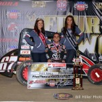 Rico Abreu in victory lane after winning the USAC National Midget Car feature on Saturday night at the 4-Crown Nationals. - Bill Miller Photo