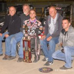 Rico Abreu with the Keith Kunz Racing team in victory lane at Eldora. - Bill Miller Photo