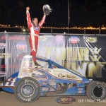 Chris Windom celebrates his victory during the 4-Crown Nationals. - Bill Miller Photo