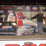 Chris Windom in victory lane at Eldora Speedway after winniing the 4-Crown Nationals. - Bill Miller Photo