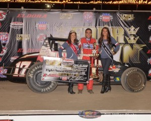 Chris Windom in victory lane after his Silver Crown victory at Eldora Speedway.- Bill Miller Photo