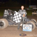 Bryan Clauson in Victory Lane after winning the 25 lap non-wing sprint car event at the Gas City I-69 Speedway on Friday September 27, 2013. - Bill Miller Photo