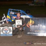 Joey Greening won the USAC Ignite Midget Series feature event at the Gas City I-69 Speedway on Friday September 27, 2013. - Bill Miller Photo