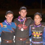 3rd Adam Thomason (Left), 1st Joey Greening (Center) and 2nd Gage Walker (Right) were the podium finishers. - Bill Miller Photo