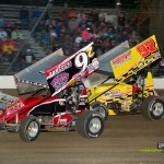 Bryan Sebetto (#24) racing with Dean Jacob (#97) Saturday at Fremont Speedway. - Mike Campbell Photo
