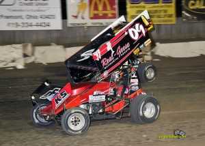 Craig Mintz (#09) inside of Paige Polyak (#81) Saturday at Fremont Speedway. - Mike Campbell Photo