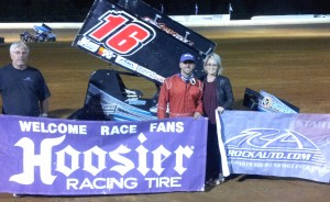 Former USCS Rookie of the Year, Anthony Nicholson visited the www.rockauto.com USCS victory lane at Tennessee National Raceway for his career-fourth USCS win on Saturday night. (USCS photo) www.uscsracing.com