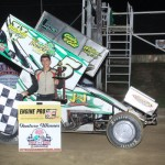 Jordan Ryan in victory lane after winning the 305 sprint car feature Friday night at Attica Raceway Park. - Action Photo