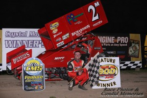 Dustin Daggett in victory lane at Crystal Motor Speedway. - Jennifer Peterson Photo