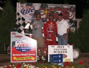 Zach Daum in victory lane Sunday night at Angell Park Speedway. - Serena Dalhamer Photo