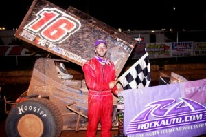 Anthony Nicholson visited the www.rockauto.com USCS victory lane at Toccoa Speedway for his career-third USCS win on Sunday night. (Chris Seeleman photo)