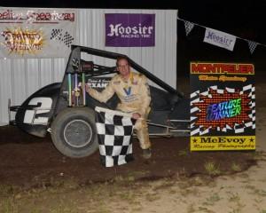 Tate Martz in victory lane at Montpelier Motor Speedway. - Bill Miller Photo