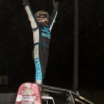 Thomas Meseraull celebrates the non-wing sprint car victory at Waynesfield Raceway Park. - Mike Campbell Photo