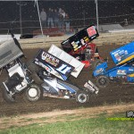 Luke Hall (#1) and Ed Neumeister get together during the Harvest of Sprints at Waynesfield Raceway Park. - Mike Campbell Photo