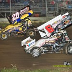 Butch Schroeder (#B20) racing with Max Stambaugh (#6) Friday at Waynesfield Raceway Park. - Mike Campbell Photo
