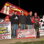 Randy Hannagan in victory lane after winning the 360 sprint car portion of the Harvest of Sprints on Saturday at Waynesfield Raceway Park. - Mike Campbell Photo