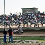 Max Stambaugh races in front of the crowd at Waynesfield Raceway Park. - Mike Campbell Photo