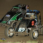 Mike Miller (#82) racing with Mike Burkin (#48) on Saturday at Waynesfield Raceway Park. - Mike Campbell Photo