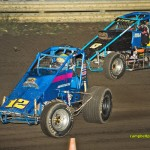 Tim Hunter (#12) racing with Steve Little (#53) on Saturday at Wayensfield Raceway Park. - Mike Campbell Photo