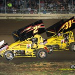 Bryan Sebetto (#2M) and Sheldon Haudenschild (#33M) racing at Waynesfield. - Mike Campbell Photo