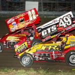Randy Hannagan (#22h) and Gregg Dalman (#49t) racing at Waynesfield Raceway Park. - Mike Campbell Photo