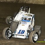 Jarett Andretti (#18) racing with Tony Baber (#3) Saturday at Eldora Speedway. - Mike Campbell Photo