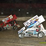 Tim Shaffer (#6) racing with Ron Blair (#35) Saturday at Eldora Speedway. - Mike Campbell Photo