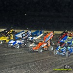 UNOH All Star Circuit of Champions parade lap on Saturday at Eldora Speedway. - Mike Campbell Photo