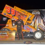 Jac Haudenschild in victory lane at Eldora Speedway. - Bill Miller Photo