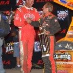 Jac Haudenschild shaking hands with the 2013 UNOH All Star Circuit of Champions point champion Dale Blaney. - Bill Miller Photo