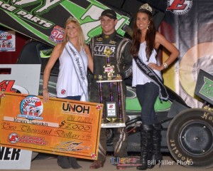 Kevin Swindell after winning the K&L Ready Mix National Racing Alliance sprint invaders feature on Saturday at Eldora Speedway. - Bill Miller Photo