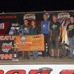 Brady Bacon in victory lane after winning Saturday's BOSS feature at Eldora Speedway. - Bill Miller Photo