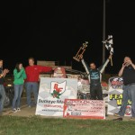 Thomas Meseraull in victory lane at Waynesfield Raceway Park. - James McDonald / Apexonephoto