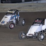 Toby Alfrey (#5) racing with Wes McIntyre (#83) Friday at Waynesfield Raceway Park. - Jan Dunlap Photo