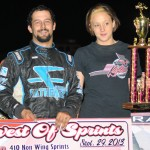 Thomas Meseraull in victory lane at Waynesfield Raceway Park. - Jan Dunlap Photo