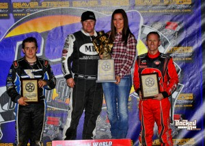 R.J. Johnson topped the USAC Southwest vs. USAC West Coast Sprint Car preliminary feature at Canyon Speedway Park's 46th Annual Western World Championships ahead of Brady Bacon (left) and Jerry Coons, Jr. (right).  (Patrick Shaw photo)