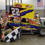 Erick Rudolf in Victory Lane after winning the Winged Outlaw Modified Midget feature event at the Memorial Coliseum Expo Center on Friday night. - Bill Miller Photo