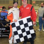 Russ Gamester in Victory Lane with Rumble Racing Series promoter Tony Barhorst. - Bill Miller Photo