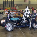 Justin Peck Victory Lane after winning the Rumble Racing Series event at the Memorial Coliseum Expo Center on Saturday night.  - Bill Miller Photo