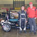 Justin Peck in Victory Lane with Rumble Racing Series promoter Tony Barhorst. - Bill Miller Photo