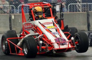 """Hard-charging Dave Darland will return to the """"Rumble in Fort Wayne"""" after a year's absence, driving for National Midget Hall of Famers Mel and Don Kenyon. Darland won at the Memorial Coliseum Expo Center in 2004 and 2010. The 16th annual indoor event is Dec. 27-28./Photo by Todd Ridgeway"""