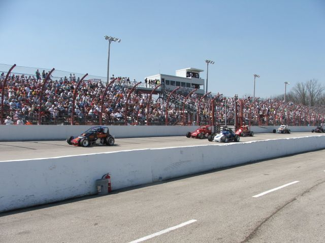 USAC Sprint Cars in front of a full house at Winchester Speedway on April 22, 2007 for the Rich Vogler Classic. - T.J. Buffenbarger Photo