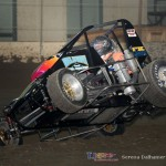 Cars were already up on two wheels during Tuesday's practice session at the Chili Bowl Nationals. - Serena Dalhamer Photo