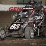 Bryan Clauson (#63) racing inside of Cory Kruseman (#21K) during the Vacuwox Race of Champions. - Serena Dalhamer Photo