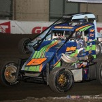 Steven Drevicki (#19) inside of Gage Walker (#8ok) Tuesday at the Chili Bowl. - Serena Dalhamer Photo
