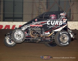 Bryan Clauson wheels up on his way to victory at the Chili Bowl Nationals. - Serena Dalhamer Photo