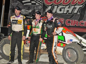 (l to r) Third place Dave Darland, winner Brady Bacon, and second place Tracy Hines. - Paul Gretzinger Photo