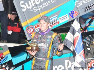 Brad Sweet in victory lane at Volusia Speedway Park. - Paul Gretzinger Photo