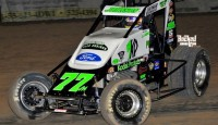 R.J. Johnson won the USAC Southwest Sprint Car Series feature Saturday night at Canyon Speedway Park.